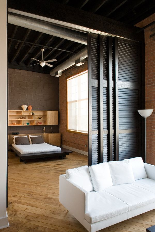 Ikea Pax Planner for a Industrial Bedroom with a Sliding Doors and Grinnell Loft by Mcintosh Poris Associates