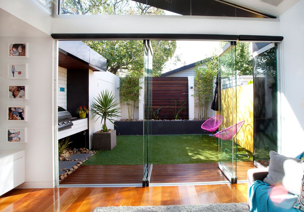 Ikea Planters for a Contemporary Patio with a Turf and Elsternwick Addition by Sketch Building Design