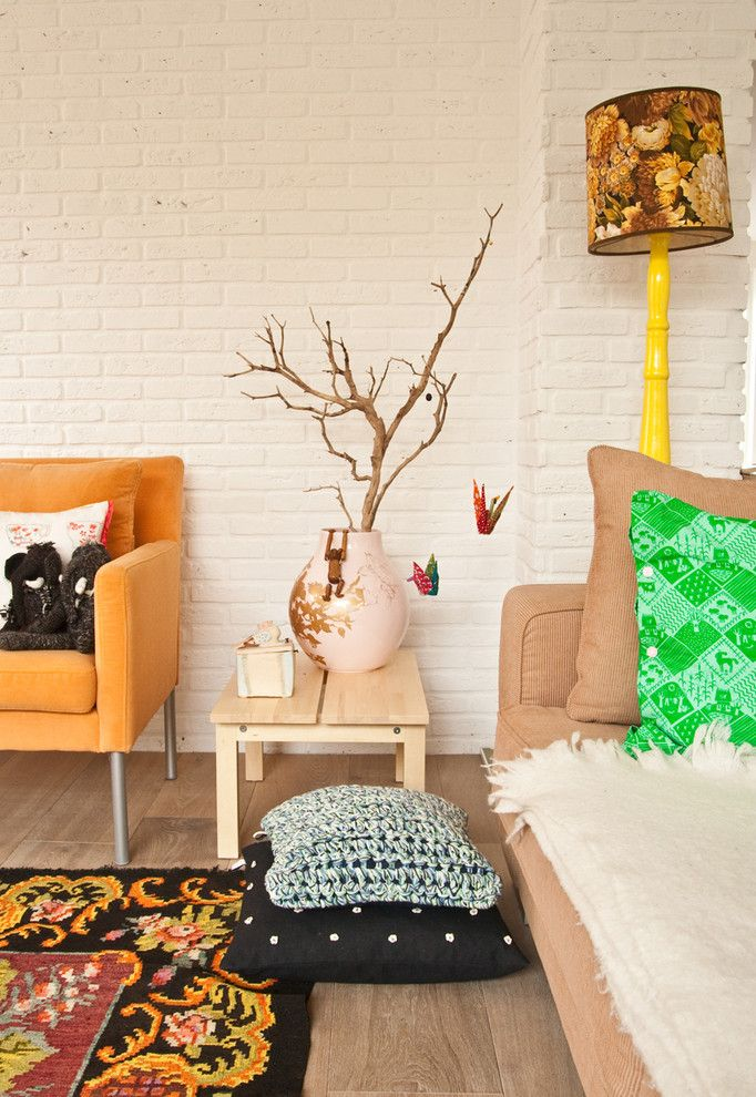 Ikea Planters for a Eclectic Living Room with a Bright Colors and the Sparkin' New Home by Planet Fur