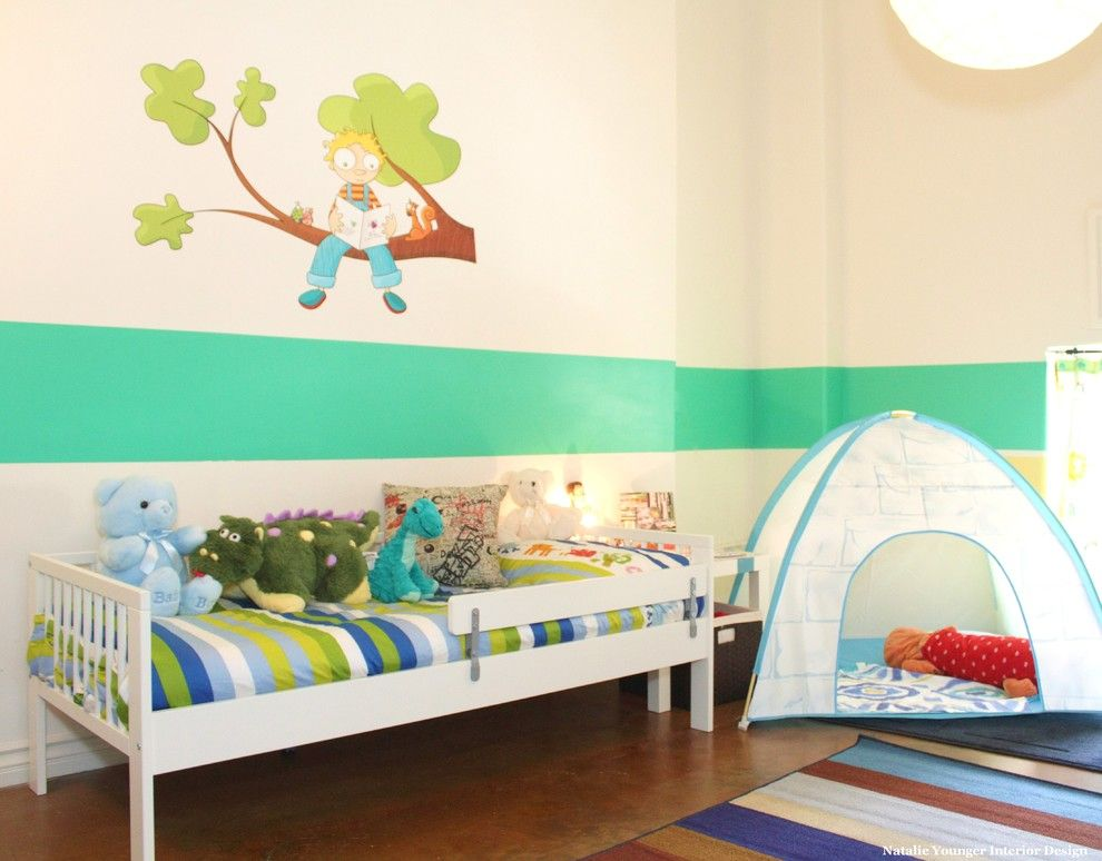 Ikea Slatted Bed Base for a Contemporary Kids with a Wall Stripe and Toddler Room by Natalie Younger Interior Design, Allied Asid
