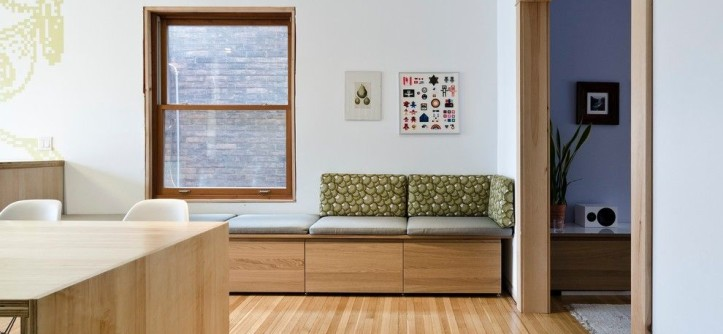 Ikea Slatted Bed Base for a Modern Dining Room with a Built in Seating and Bloordale Renovation by blackLAB Architects Inc.