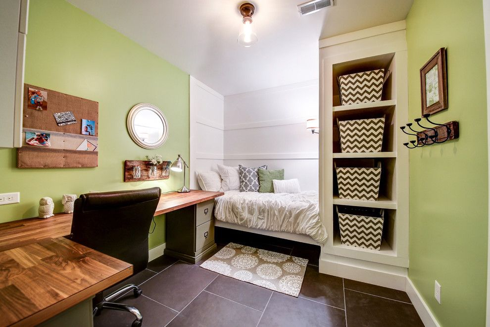 Ikea Slatted Bed Base for a Transitional Home Office with a Wood Desk and Skeen Basement by Karen Spiritoso Home Designs by Karen