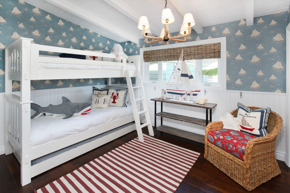Ikea Slatted Bed Base for a Tropical Kids with a Red Patterned Cushion and Bedrooms by V.i.photography & Design