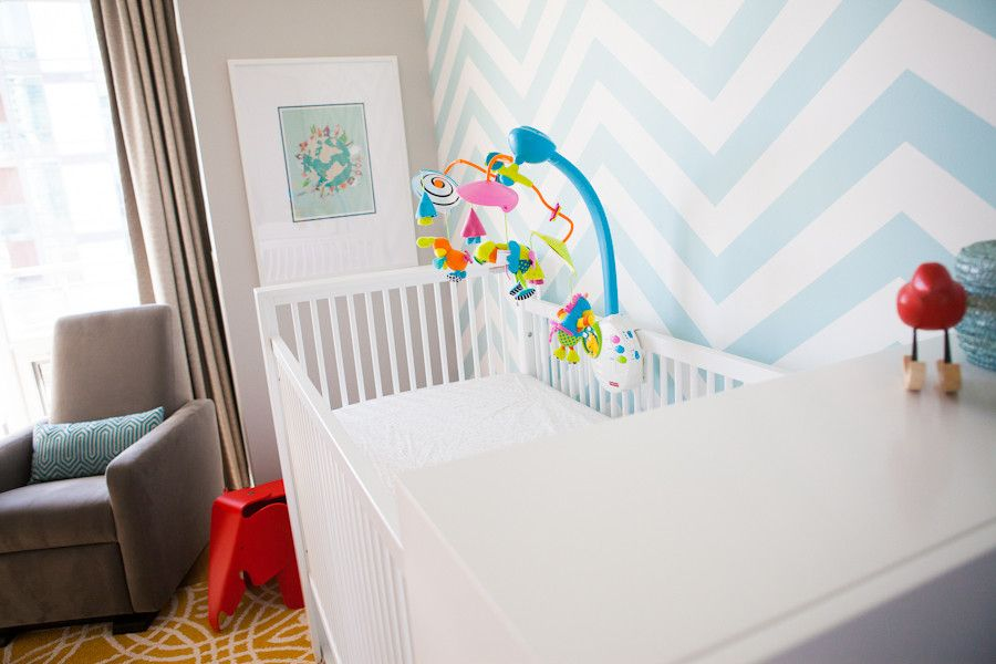 Ikea Sniglar Crib for a Contemporary Kids with a Accent Wall and Frederick by Pure Bliss Creative Design