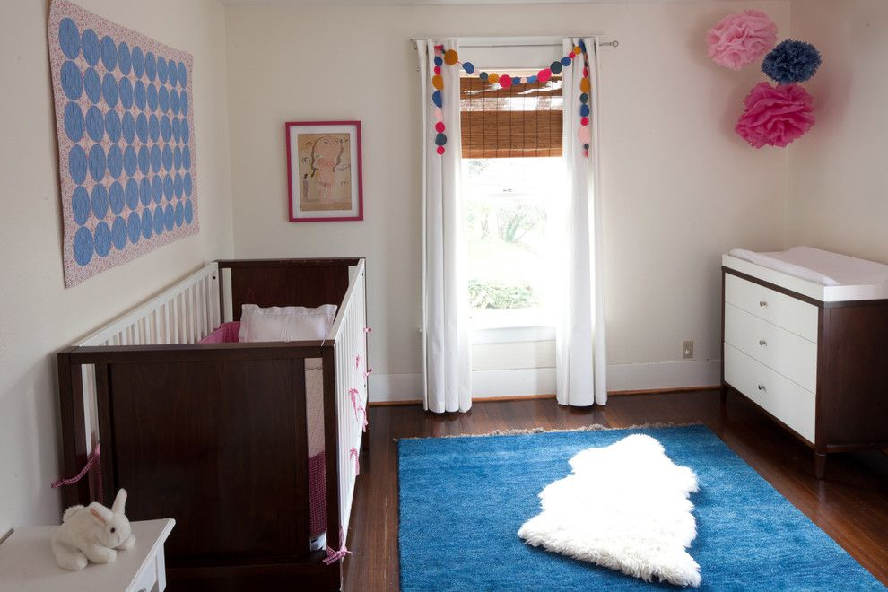 Ikea Sniglar Crib for a Modern Kids with a Blue Ikea Rug and Childrens' Rooms by Lindy Williams Interiors