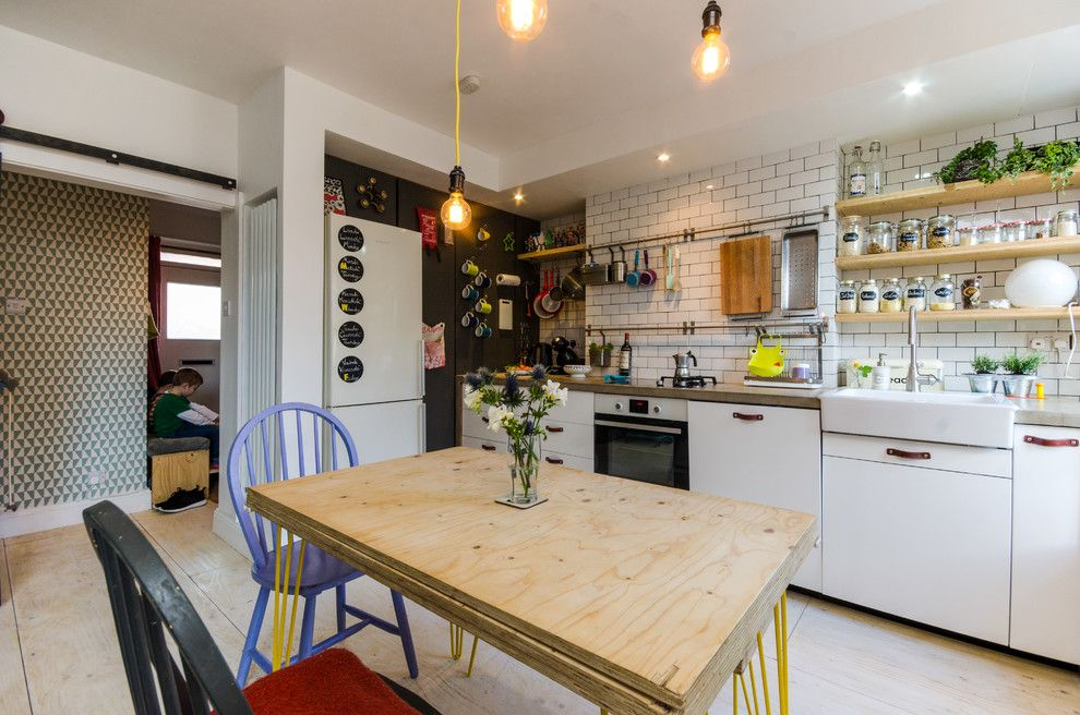 Ikea Stoughton Ma for a Eclectic Kitchen with a Apron Front Sink and Hackney Flat by Amelia Hallsworth Photography