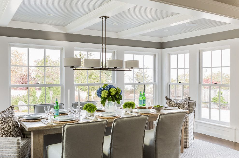 Ikea Stoughton Ma for a Transitional Dining Room with a Beamed Ceiling and Private Residence   Marblehead, Ma by Julia Cutler Interior Design
