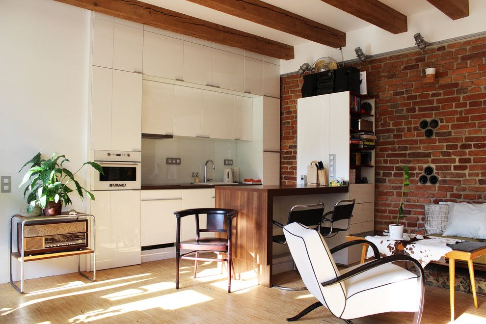 Ikea Twin Cities for a Industrial Kitchen with a Shelves and My Houzz: Diy Love Pays Off in a Small Prague Apartment by Martin Hulala