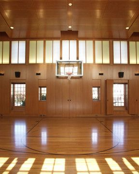 Indoor Basketball Courts Nyc for a Traditional Spaces with a Custom Wood Ceiling and Private Indoor Basketball Court by South Shore Millwork