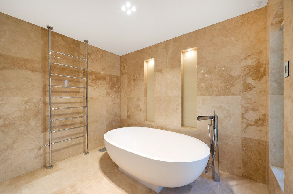 Installing a Bathtub for a Contemporary Bathroom with a Freestanding Bathtub and Wheelers Hill by Jjc Design P/l