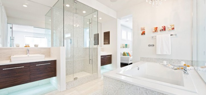 Installing a Bathtub for a Contemporary Bathroom with a Gray Mosaic Tile and 2011 Stampede Dream Home by Homes by Avi