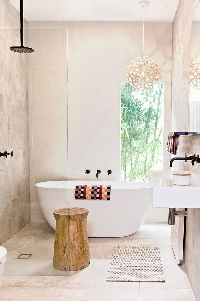 Installing a Bathtub for a Contemporary Bathroom with a Modern Pendant Light and Pretty Peace by Gia Bathroom & Kitchen Renovations