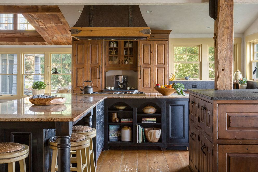 Installing a Wood Stove for a Farmhouse Kitchen with a Weathered Wood and Maine Cottage   Weinrich Residence by Denise Stringer Interior Design
