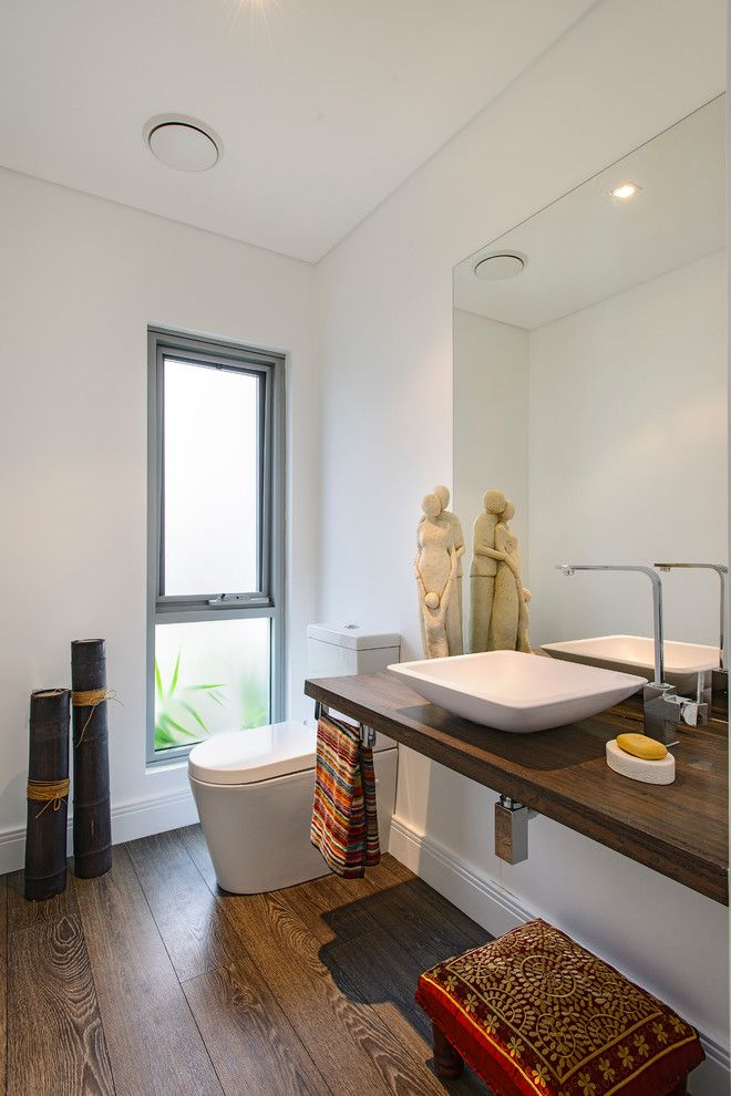 Installing Bathroom Fan for a Contemporary Bathroom with a Frosted Glass and SOUTH COOGEE - House by Capital Building