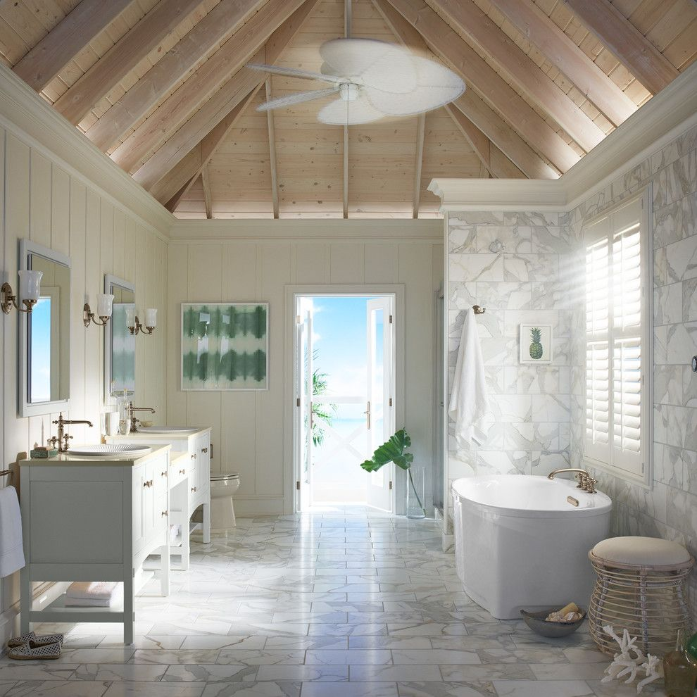 Installing Bathroom Fan for a Contemporary Bathroom with a Light Wood Ceiling and Kohler by Kohler
