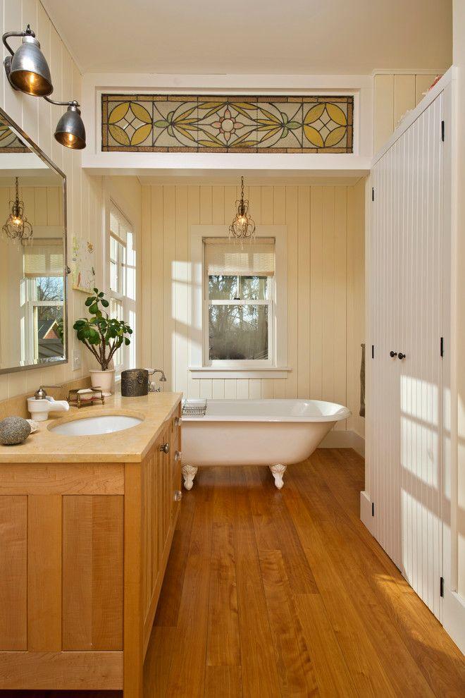 Installing Bathroom Fan for a Farmhouse Bathroom with a Bath Tub and Leed Platinum Home by Phinney Design Group