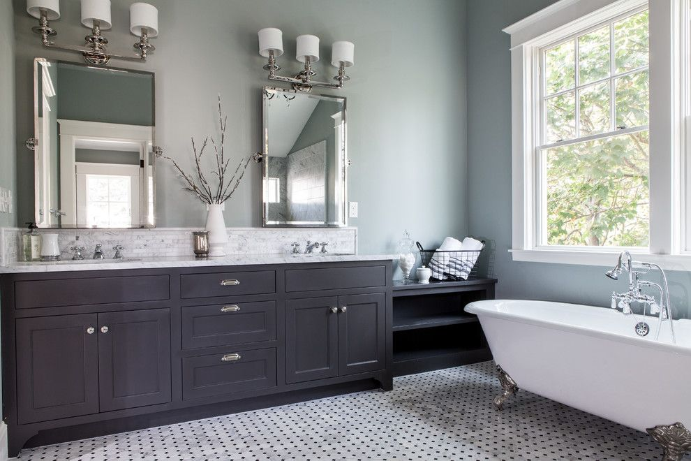 Installing Bathroom Fan for a Traditional Bathroom with a Marble and Elegant Master Bath by Northwest Heritage Renovations