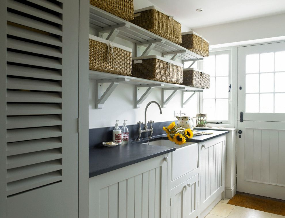 Installing Laminate Countertops for a Farmhouse Laundry Room with a Butler Sink and Beaulieu House by the Sea by Stephanie Dunning Interior Design