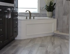 Installing Laminate Countertops for a Modern Bathroom with a Floor Tiles and Falling Water Porcelain Tile Collection by Best Tile