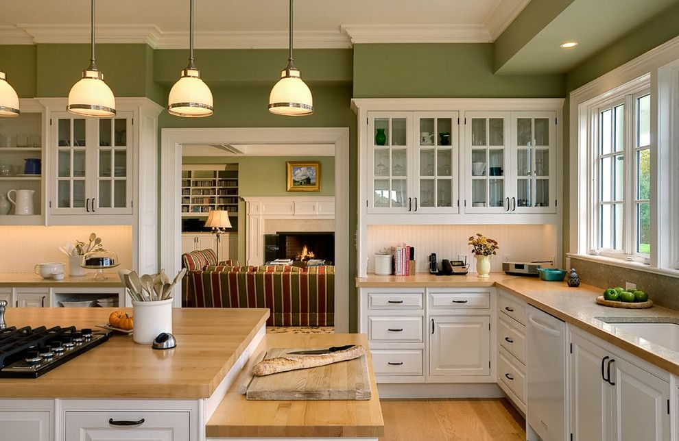Installing Laminate Countertops for a Traditional Kitchen with a Green Walls and Crisp Architects by Crisp Architects