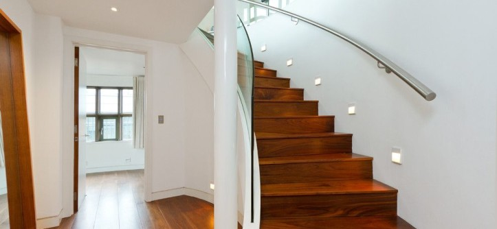 Installing Recessed Lighting for a Contemporary Staircase with a Curved Staircase and Victor Wharf - Private by Chris Snook
