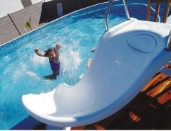 Interfab for a Contemporary Pool with a Contemporary and Zoomerang Complete Pool Slide by Inter-Fab by PoolSupplyWorld