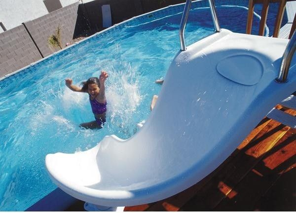 Interfab for a Contemporary Pool with a Contemporary and Zoomerang Complete Pool Slide by Inter Fab by Poolsupplyworld