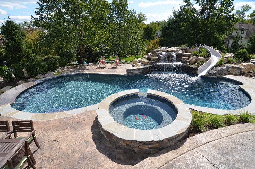 Interfab for a Traditional Pool with a Waterslide and Upper Saucon Pool with Waterslide and Swim Up Bar by Monogram Custom Pools (610)282 0235