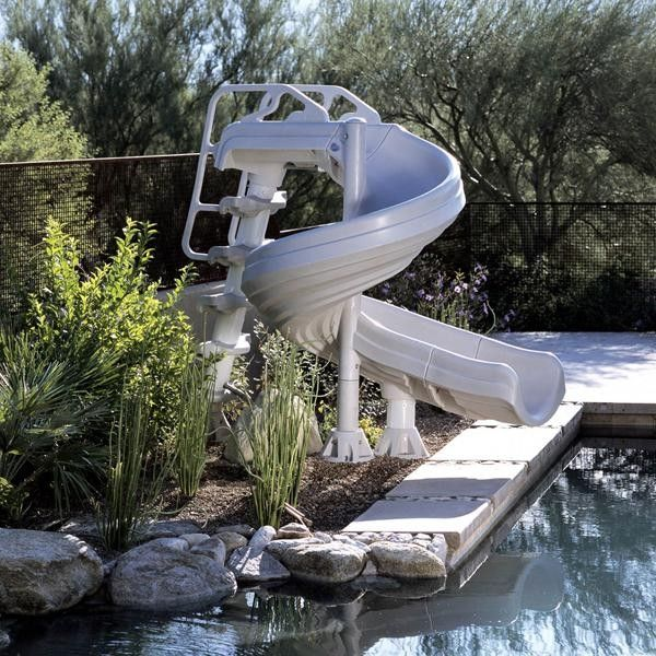 Interfab for a Tropical Pool with a Pool Slide and Inter Fab G Force Complete Pool Slide by Poolsupplyworld