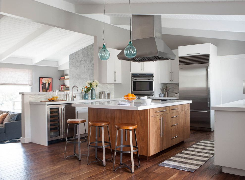 Intermountain Wood Products for a Contemporary Kitchen with a Gray Mosaic Tile Backsplash and Marin Remodel by Niche Interiors