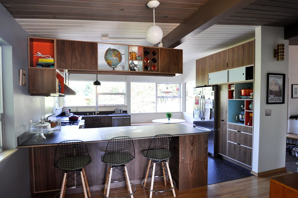 Intermountain Wood Products for a Modern Kitchen with a Dark Wood Shelving and Blue Ridge Mid Century Modern Kitchen by Fivedot