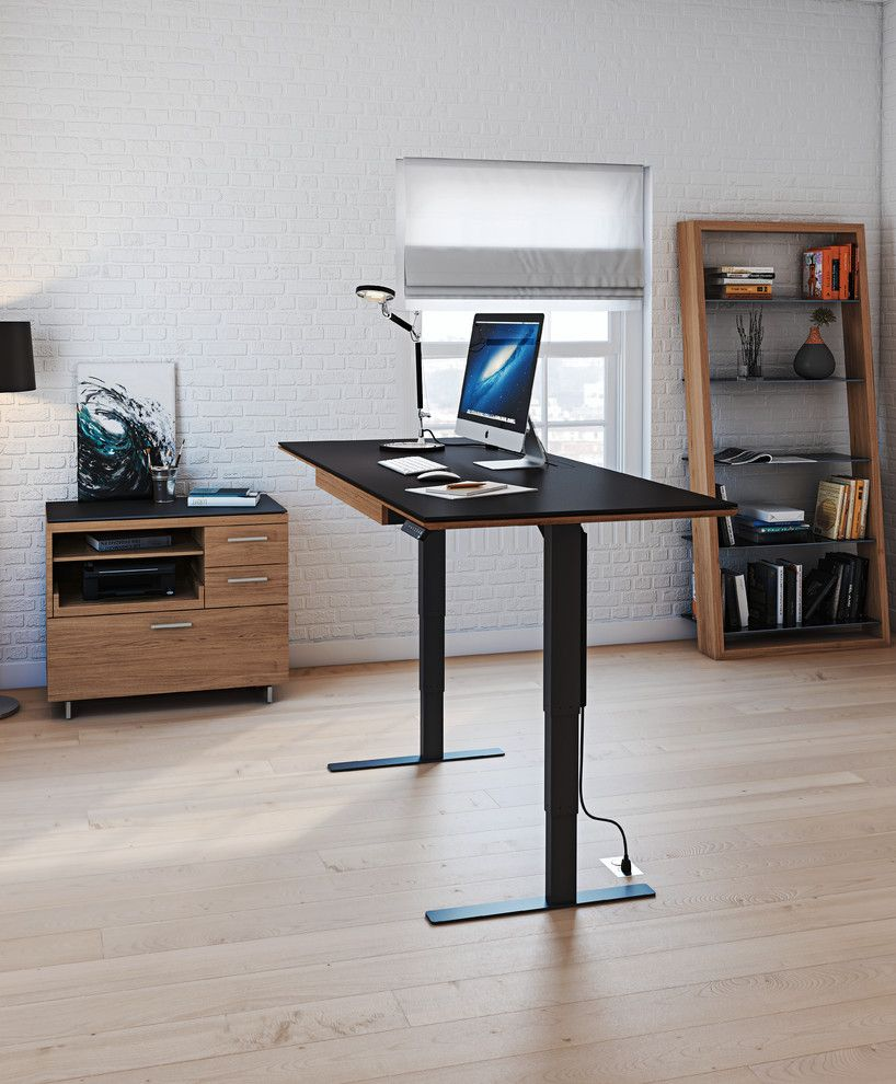 Iowa Realty Des Moines Iowa for a Contemporary Home Office with a Smoke Black Glass and Bdi Furniture by Bdi Furniture