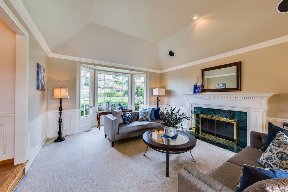 Issaquah Glass for a  Living Room with a Blue Accents and Spacious Issaquah Home by Seattle Staged to Sell and Design Llc