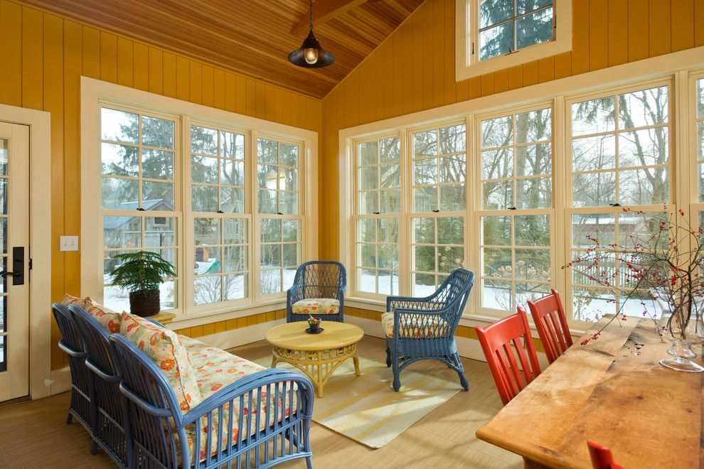 J Geils Band Love Stinks for a Farmhouse Sunroom with a Wood Ceiling Beams and Leed Platinum Home by Phinney Design Group