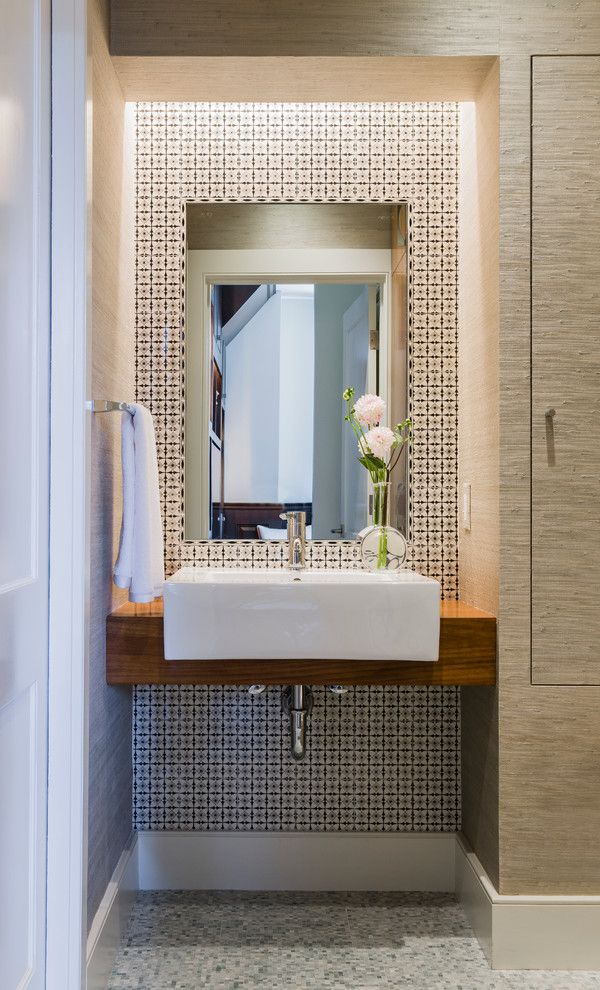 Jackson and Coker for a Modern Powder Room with a Tile Bathroom Wall and Back Bay by Annie Hall Interiors