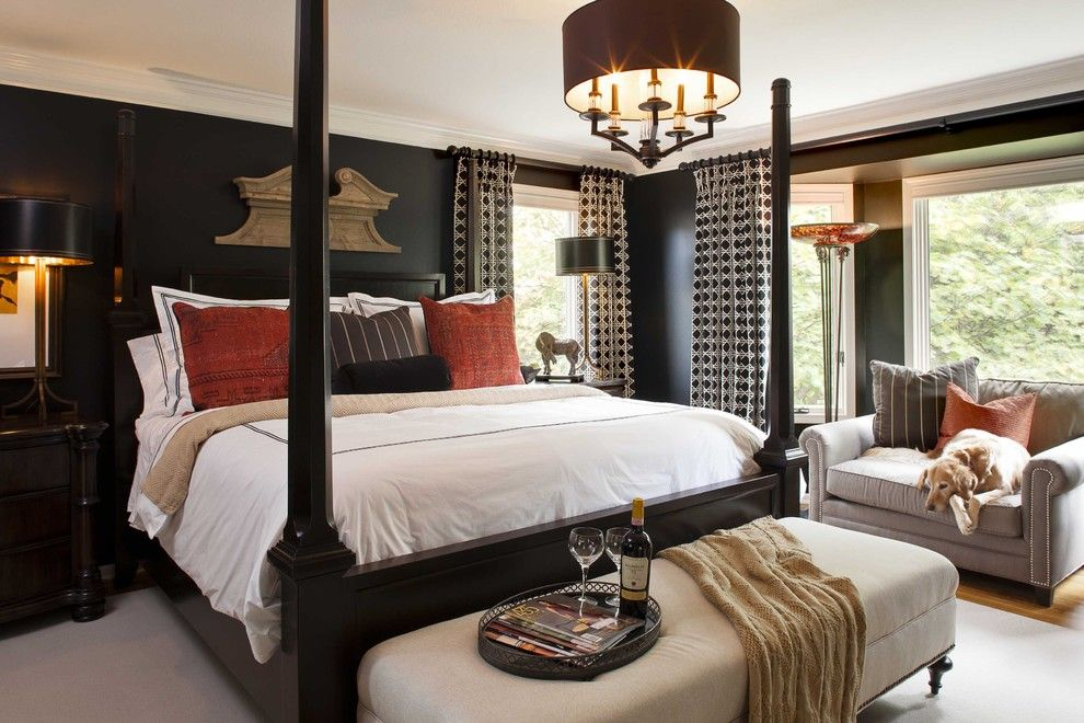 Jackson and Coker for a Traditional Bedroom with a Dark Walls and Mccroskey Interiors by Mccroskey Interiors