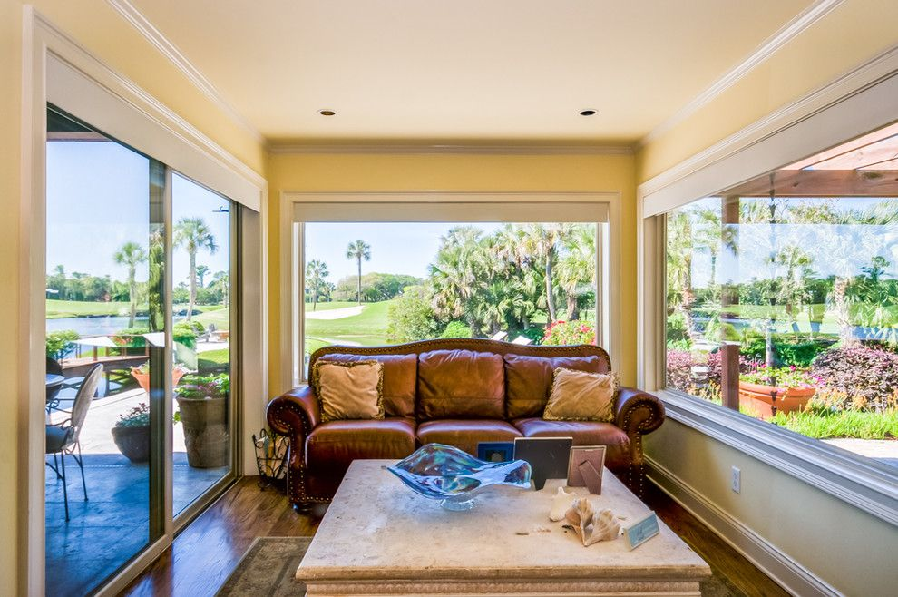 Jacksonville Theater for a Beach Style Home Theater with a Private Island and Golf Course Home on Ocean Fed Lake with Private Island by Wally Sears