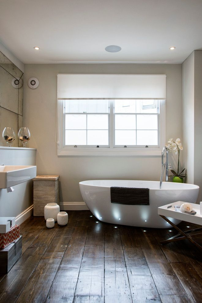 Jadon for a Contemporary Bathroom with a Wooden Floorboards and London Nw1 by My Interior Stylist Ltd