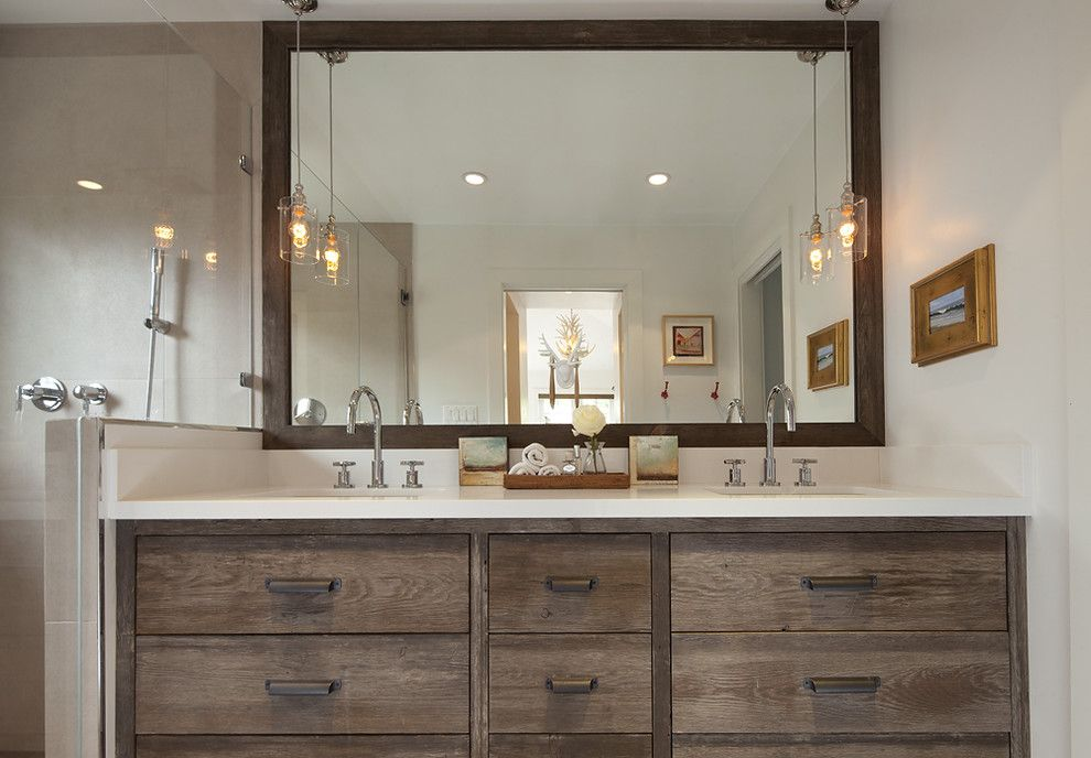 Jadon for a Rustic Bathroom with a Wood Cabinets and Mill Valley Bungalow by Artistic Designs for Living, Tineke Triggs
