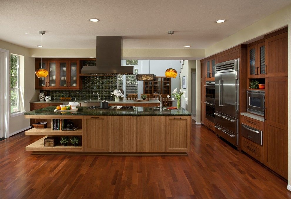 Jatoba for a Contemporary Kitchen with a Portland and Dewils Bamboo Cabinetry by Dewils Custom Cabinetry