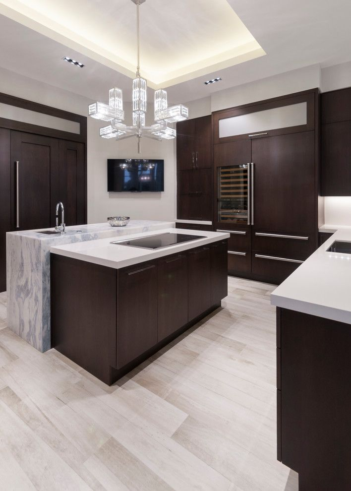 Jatoba for a Modern Kitchen with a Engineered Stone Countertop and Ft. Lauderdale Residence by Opustone