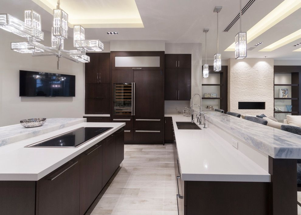 Jatoba for a Modern Kitchen with a Kennha Sky Marble and Ft. Lauderdale Residence by Opustone