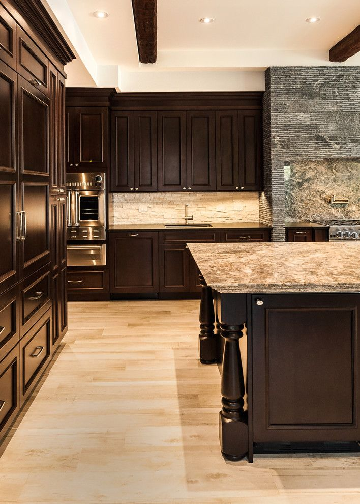 Jatoba for a Traditional Kitchen with a Porcelain and Golden Beach Residence    2 by Opustone