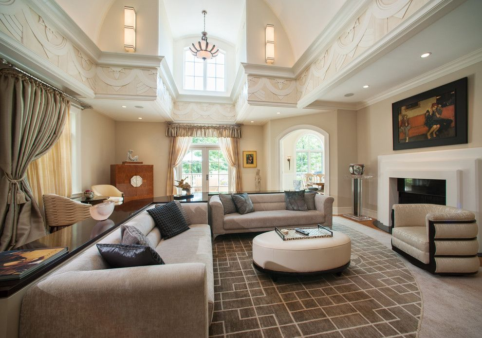 Jemco for a Contemporary Family Room with a Vaulted Ceiling and Art Deco Spectacular by Jay Greene Photography
