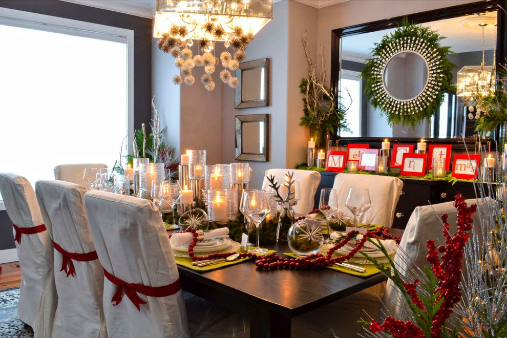 Jewish Candle Holder for a Traditional Dining Room with a Slipcovered Dining Chair and Homes for the Holidays 2012  Edmonton by Amr Interior Design & Drafting Ltd.