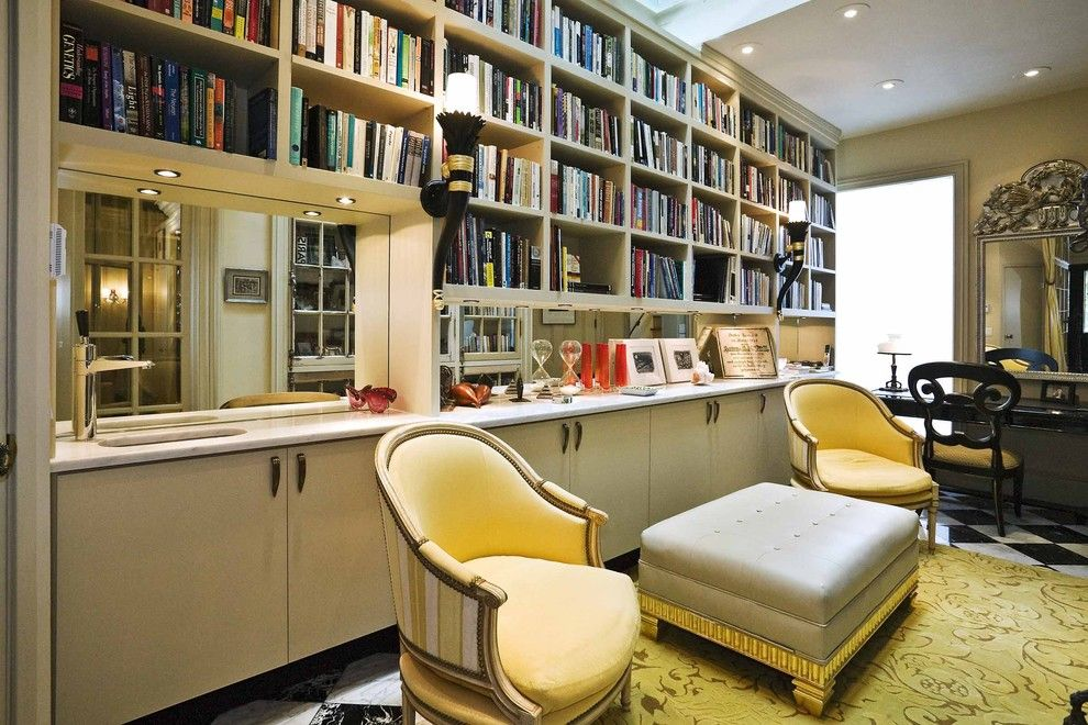 Jewish Candle Holder for a Traditional Home Office with a Library and Buena Vista Deco by Jerry Jacobs Design, Inc.
