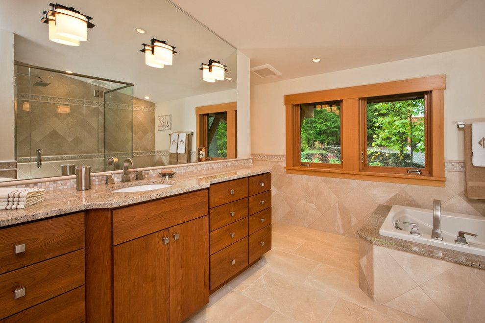 J&k Cabinetry for a Contemporary Bathroom with a Master Bath and Lake Luzerne House by Phinney Design Group