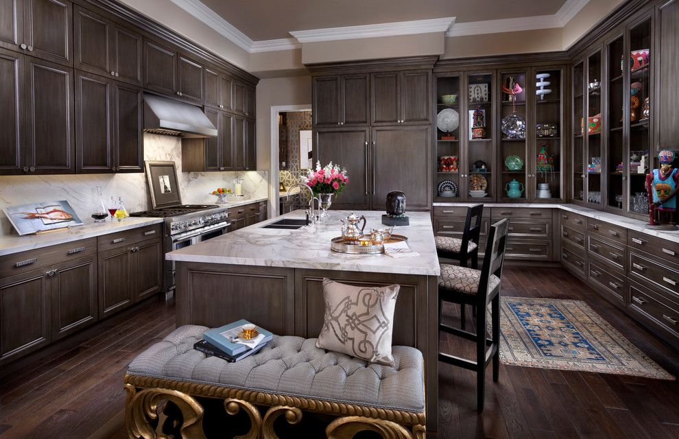 J&k Cabinetry for a  Kitchen with a Bar Stools and Thermador by Thermador Home Appliances
