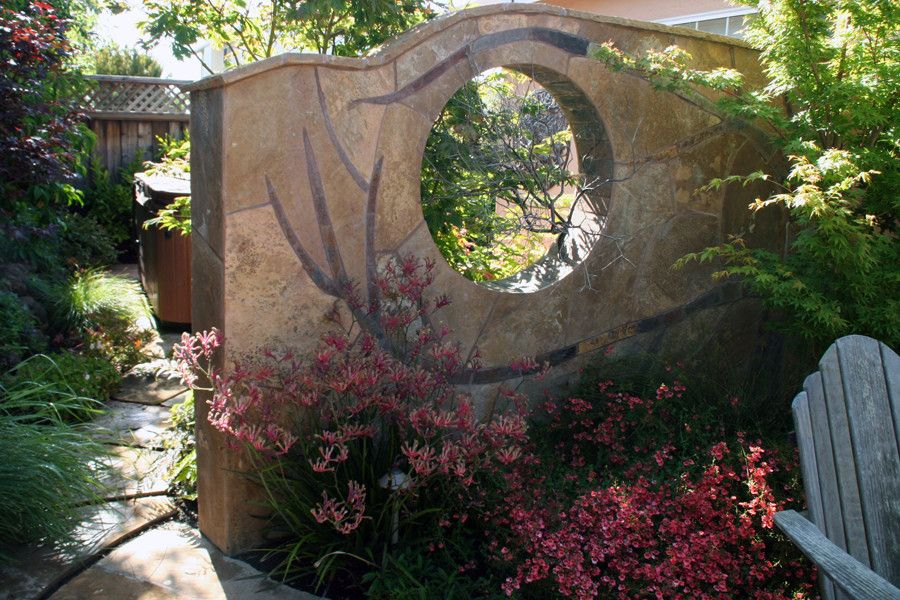 Jolee for a Contemporary Landscape with a Flagstone Wall Art and Hardscapes by the Village Gardener