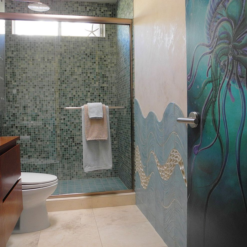 Jolee for a Modern Bathroom with a Handmade Ceramic Tile and Custom Ceramic Tile and Jellyfish Door by Wabisabi Green